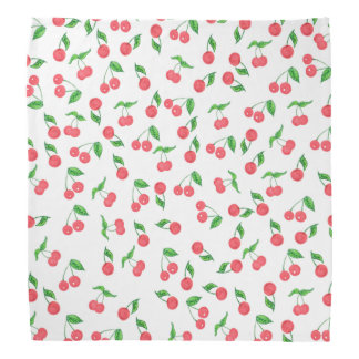 cute hand drawn watercolor cherry pattern bandana