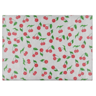 cute hand drawn watercolor cherry pattern boards