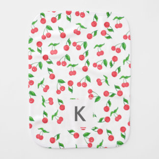 cute hand drawn watercolor cherry pattern burp cloth