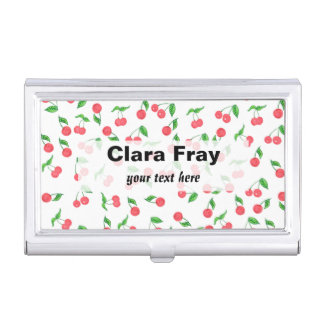 cute hand drawn watercolor cherry pattern business card holder