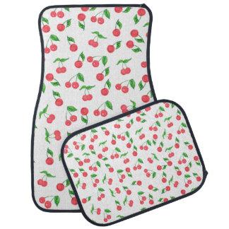 cute hand drawn watercolor cherry pattern car mat