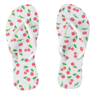 cute hand drawn watercolor cherry pattern flip flops