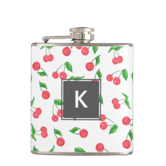 cute hand drawn watercolor cherry pattern hip flask