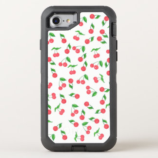 cute hand drawn watercolor cherry pattern OtterBox defender iPhone 8/7 case