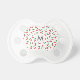 cute hand drawn watercolor cherry pattern pacifier