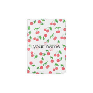 cute hand drawn watercolor cherry pattern passport holder