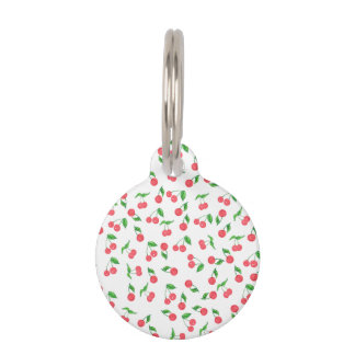 cute hand drawn watercolor cherry pattern pet tag