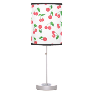 cute hand drawn watercolor cherry pattern table lamp