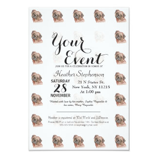 "Cute Hand Painted Black Brown Watercolor Pug Dog 3.5"" X 5"" Invitation Card"