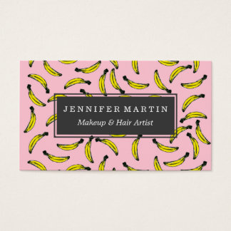 Cute Hand Painted Watercolor Bananas and Pink Business Card