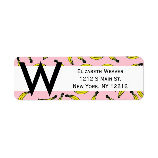 Cute Hand Painted Watercolor Bananas and Pink Return Address Label