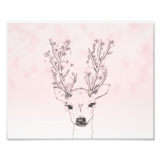Cute handdrawn floral deer antlers pink watercolor photograph