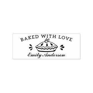 "Cute handmade font ""baked with love"". rubber stamp"