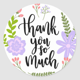 Cute handwritten floral typography Many Thanks Classic Round Sticker