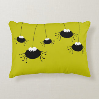 Cute Hanging Halloween Spiders Reversible Decorative Pillow