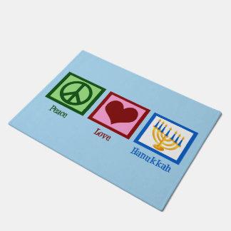 Cute Hanukkah Peace Love Doormat