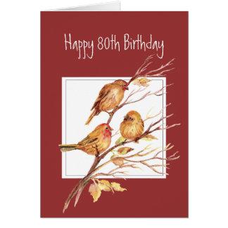 Cute Happy 80th Birthday Song Sparrows Card