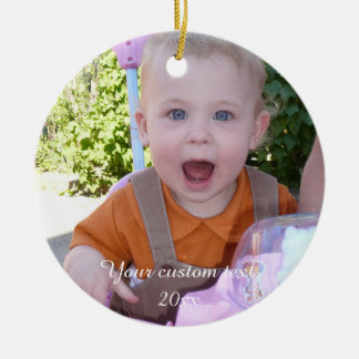 Cute happy baby - create your own round ceramic ornament