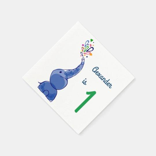 Cute happy baby elephants design paper napkins