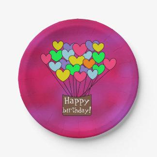 Cute Happy birthday Hearts Design Fuchsia Paper Plate