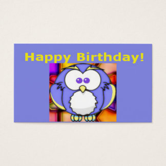 Cute Happy Birthday Owl Gift Tag Business Card