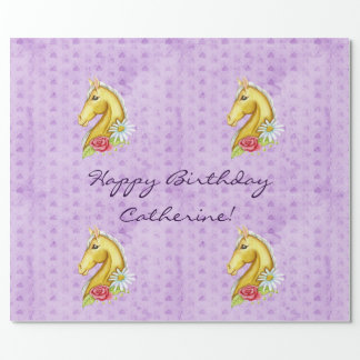 "Cute ""Happy Birthday"" Palomino Horse Birthday Wrapping Paper"