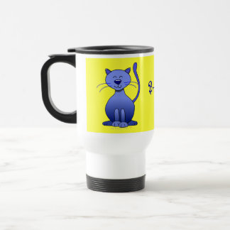 Cute Happy Blue Smiling Cat Personalized Yellow Travel Mug