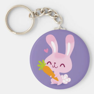 Cute Happy Bunny Rabbit Holding a Carrot Keychain