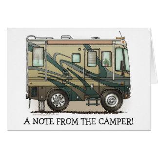 Cute Happy Camper Big RV Coach Motorhome Note Card