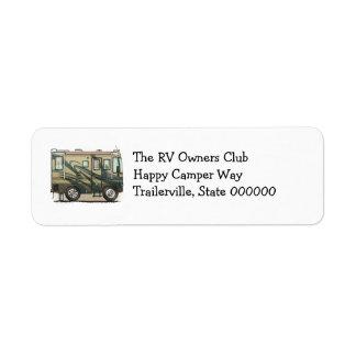 Cute Happy Camper Big RV Coach Motorhome Return Address Label