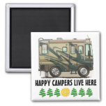 Cute Happy Camper Big RV Coach Motorhome Square Magnet