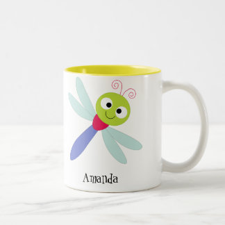 Cute Happy Cartoon Dragonfly With Twirly Fillers Two-Tone Coffee Mug