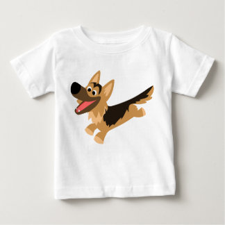 Cute Happy Cartoon German Shepherd Baby T-Shirt