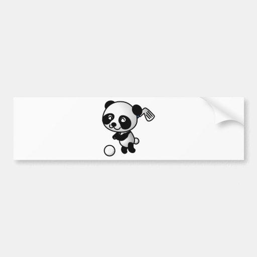 Cute Happy Cartoon Panda Bear Swinging Golf Club Bumper Stickers