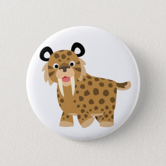 Cute Happy Cartoon Smilodon Button Badge