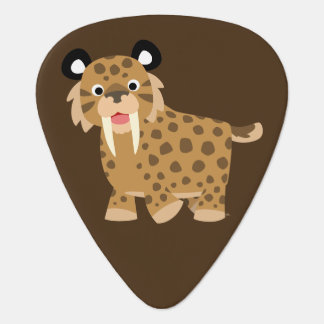 Cute Happy Cartoon Smilodon Guitar Pick