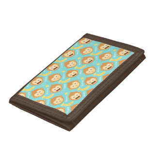 Cute, Happy, Cheeky Monkey and Bananas Trifold Wallet