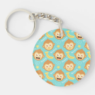 Cute, Happy, Cheeky Monkey Pattern with Bananas Double-Sided Round Acrylic Keychain