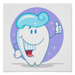 cute happy clean sparkling tooth cartoon character posters