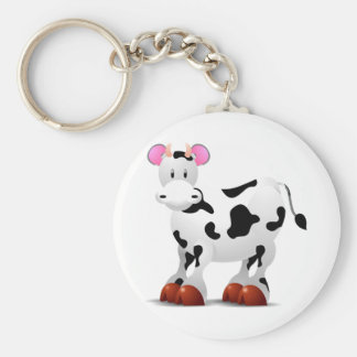 Cute Happy cow cartoon characters Basic Round Button Keychain