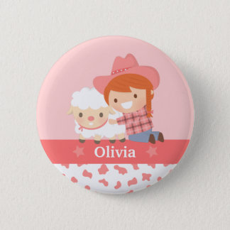 Cute Happy Cowgirl with Lamb For Girls 2 Inch Round Button
