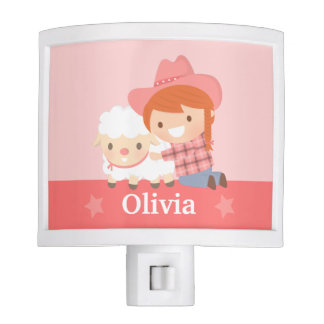 Cute Happy Cowgirl with Lamb Girls Room Decor Nite Lites