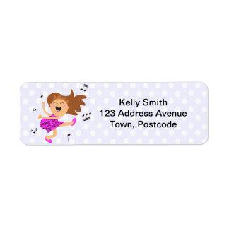 Cute Happy Dancing Girl in pink dress Return Address Label