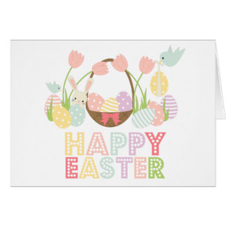 Cute Happy Easter Eggs and Bunny Greeting Card