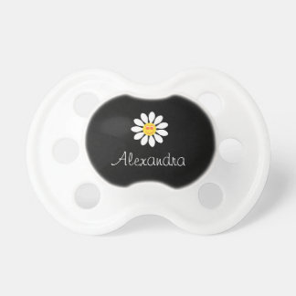 Cute Happy Face Girly White Daisy Flower Baby Name Pacifier