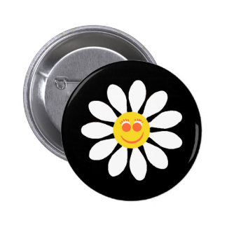 Cute Happy Face Girly White Daisy Flower on Black 2 Inch Round Button