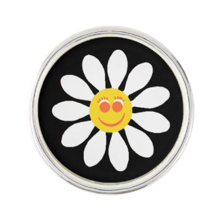 Cute Happy Face Girly White Daisy Flower on Black Lapel Pin