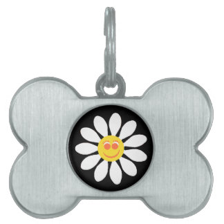 Cute Happy Face Girly White Daisy Flower on Black Pet Tag