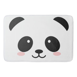 Cute Happy Face Panda Bathroom Mat