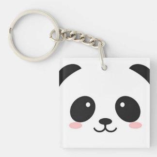 Cute Happy Face Panda Single-Sided Square Acrylic Keychain